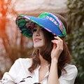 Цветок Летние Шляпы Для Женщин Фиолетовый Пустой Верхней Складной Соломы вс Hat Широкими Полями Шляпа Солнца Casquette Козырек Шапки Женские Snapback