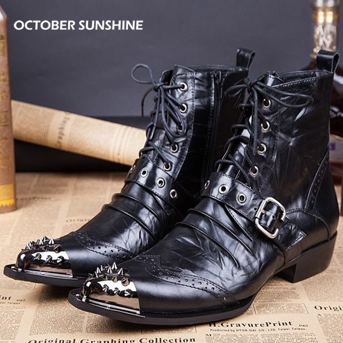 OCTOBER SUNSHINE Men's Cool Stylish Spike Rivet Studded Leather Motorcycle Martin Boots Punk Rock Fashion Shoes for men