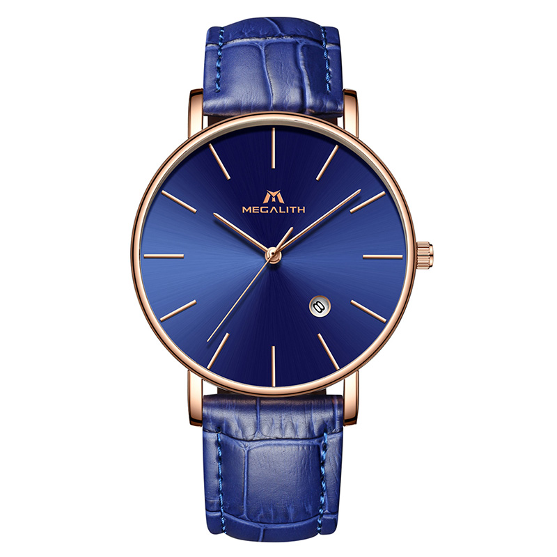 c5b6d75de068 MEGALITH Men Watch Sport Waterproof Date Analogue Wrist Watch Mens Business  Casual Clock Blue Leather Gents Watches Montre Homme-in Quartz Watches from  ...