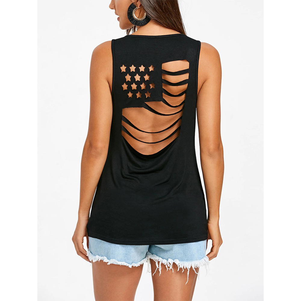 Casual Solid Vest T Shirts Backless Hollow Out America Flag Star Womens Tanks Tops New Clothing Summer Tank Top T Shirt Women