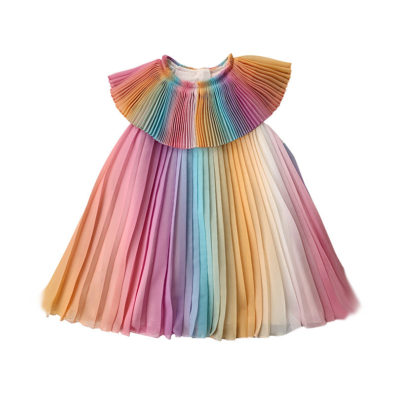 Girls Dresses for Party and Wedding Summer 2019 Girl Rainbow Dress In Kids Sleeveless Princess Dress Toddler Girl Clothes Summer|Dresses| |  - title=