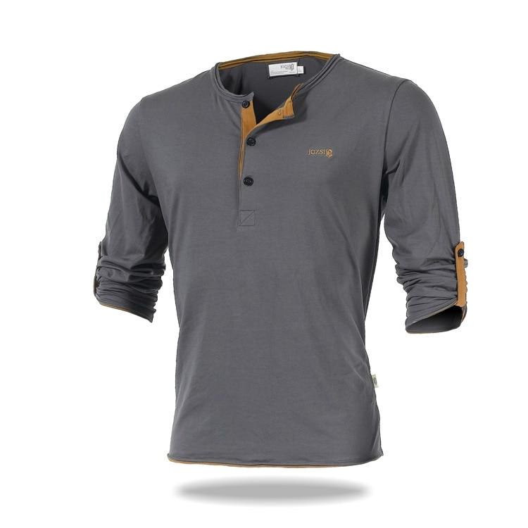 2017 Spring Autumn Button V-neck Long Sleeve Cotton T-shirt Men Sports Leisure Outdoor Hiking Camping Fishing Anti-uv T Shirt