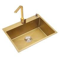 SUS304 кухонное полотенце из нержавеющей стали, корзина с подкреплением, сетчатый фильтр, матовая Золотая Одиночная раковина, Bowel, 30 дюймов, 9 ка