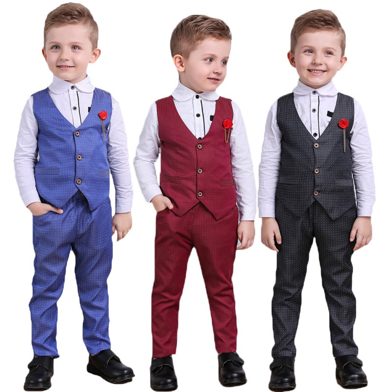 Children Pants Shirt Vest Three-Piece-Set Spring Casual-Suit Baby-Boys Gentlemen Autumn title=