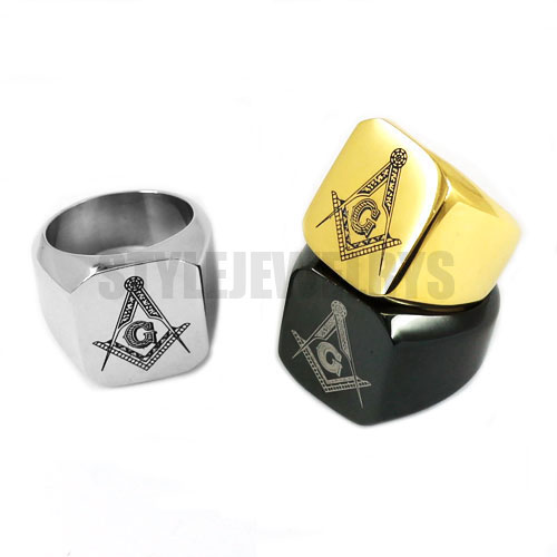 e835da44579b8 US $2.84 5% OFF|Silver Black Gold Masonic Ring Stainless Steel Jewelry  Wholesale Classic Freemasonry Masonic Motor Biker Men Ring SWR0009A-in  Rings ...