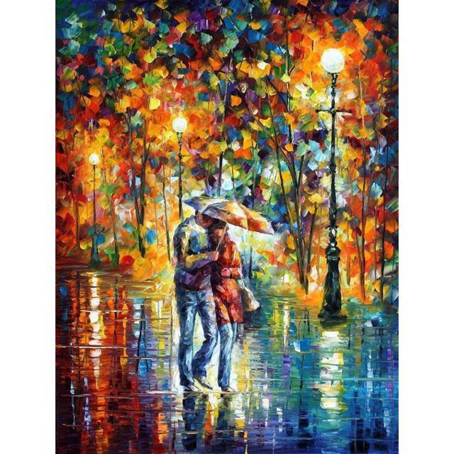 € 110.81 |Paysage peinture À L\'huile photos soir de pluie palette couteau  toile mur art moderne décor à la maison dans Peinture et Calligraphie de ...