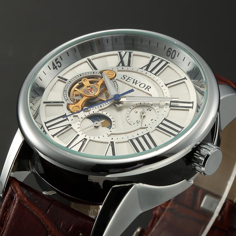 Prix pour SEWOR Mens Montres 2016 Lune Phase Mâle Horloge Automatique Mécanique Montre-Bracelet Montre Homme Erkek Kol Saati