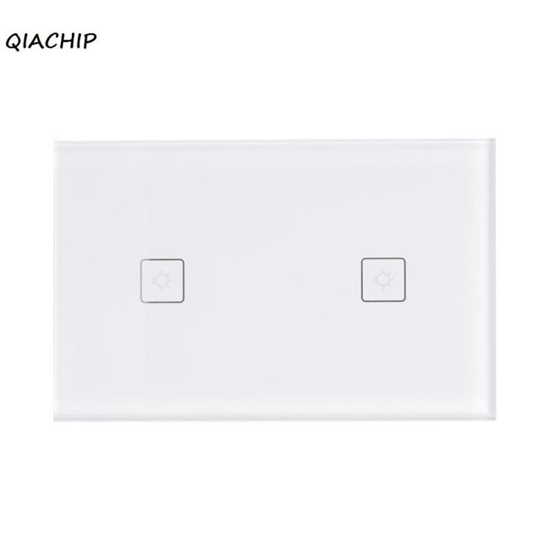 QIACHIP US Pulg WiFi Smart Switch 2CH Light Wall Switch Glass Panel Touch Screen APP Remote Control Work with Amazon Alexa H3 ewelink us type 2 gang wall light smart switch touch control panel wifi remote control via smart phone work with alexa ewelink