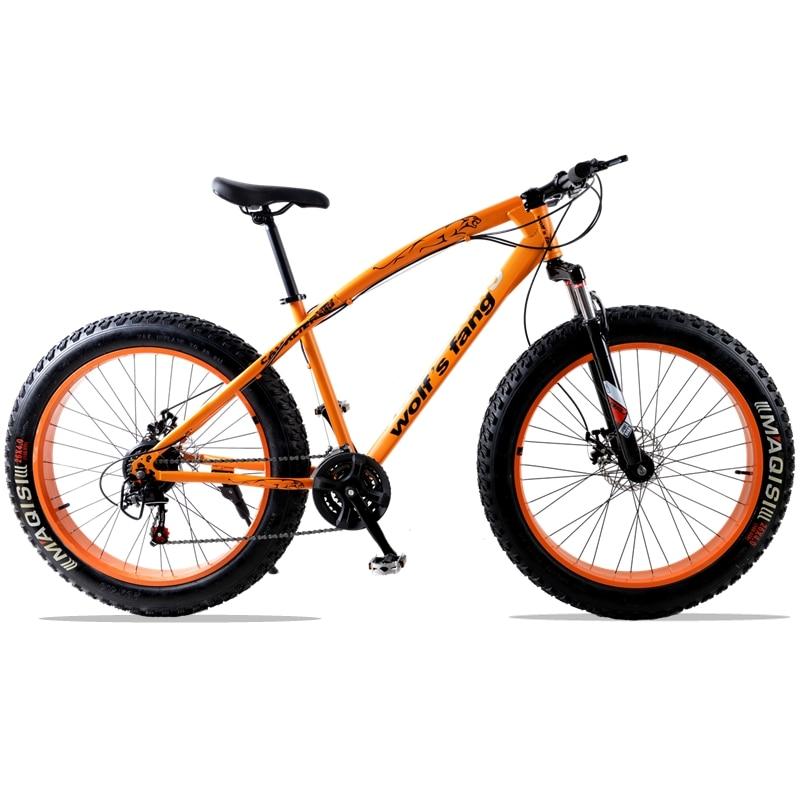 Дорожный велосипед 7 скорость 21 скорость 26 X 4.0 Снежный велосипед горный велосипед Фэт-байк 26 дюймов Подрессоренная вилка Передний и задний ...