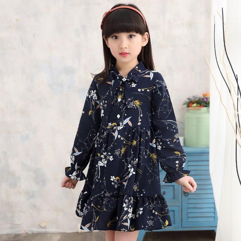 girl summer dress long sleeve children clothes floral dresses  3 5 8 10 12 years girl vestidos enfant yellow white korean dress 3