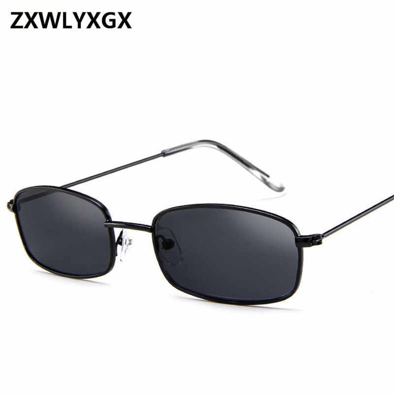 2018 nowy mały prostokąt męskie okulary przeciwsłoneczne w stylu retro marka projektant czerwona metalowa rama przezroczyste soczewki okulary kobiety