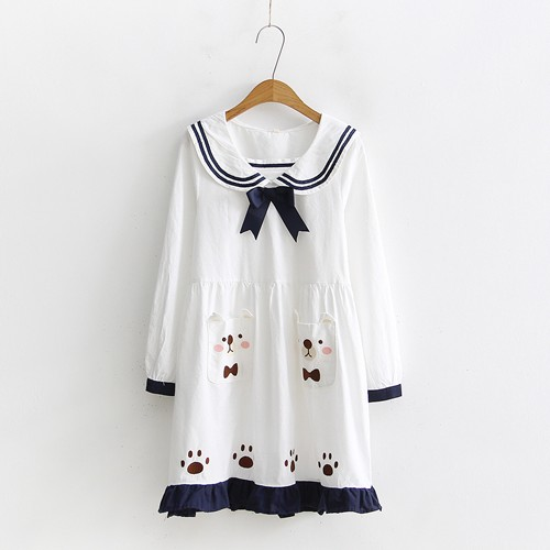 Navy style bow student dress bear stitch personalized kawaii short mini dress