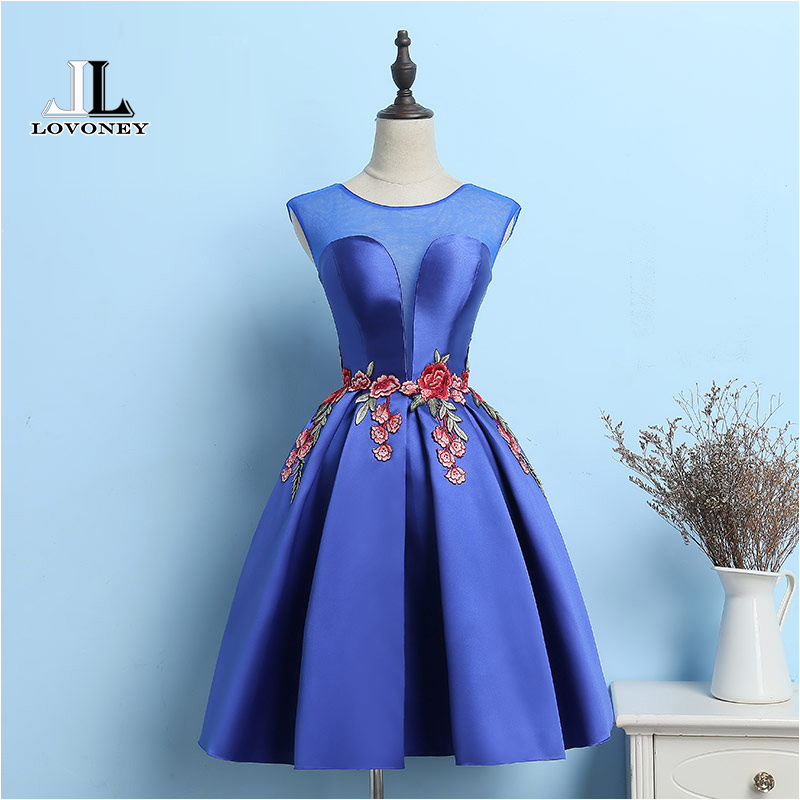 LOVONEY M203 New Design Sexy Open Back A Line Short Prom Dresses 2019 Formal Party Dress Vestido De Festa Curto-in Prom Dresses from Weddings & Events    1