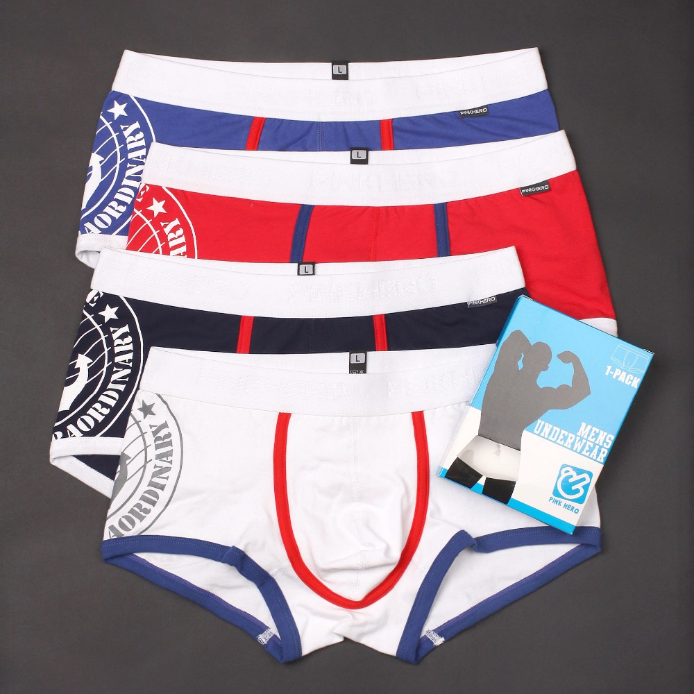 4PCSLot Fashion Oceanic Style Printing Mens Underwear Cotton Mens Boxer Shorts/ Trunks Male Panties A10 M/L/XL/XXL