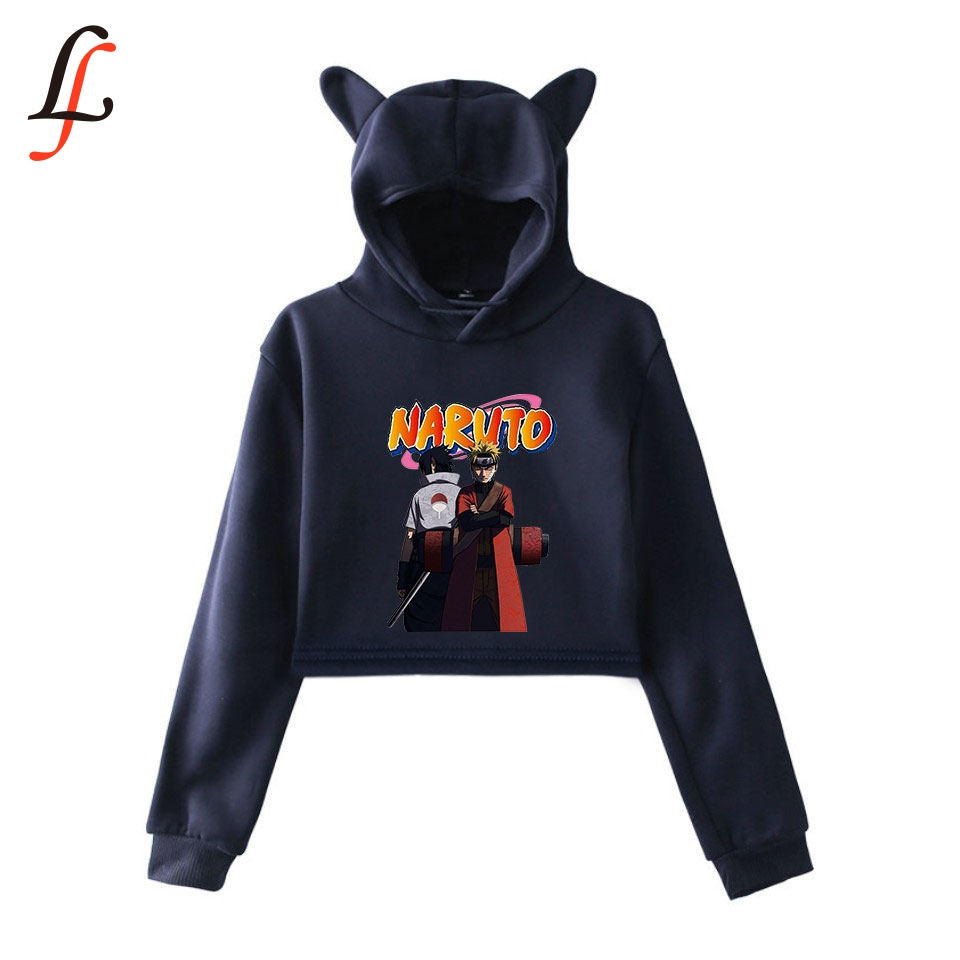 Naruto 2019 Cat Ear Cap Sexy Hoodies Fashion Trend Cat Crop Top Women Hoodies Sweatshirt Harajuku Sexy Hot Kpop Clothes Selling