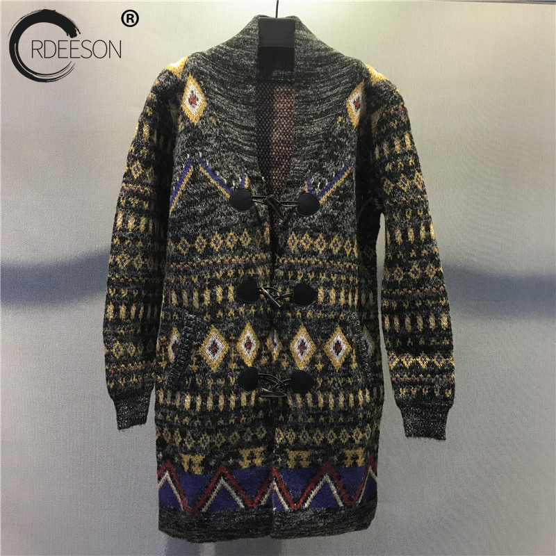 ORDEESON Oversized Sweater Grey Tiger Sweater Jacquard Coat Women Sweaters Jumper Knitted Jacket Women Cardigans Feminino 2017