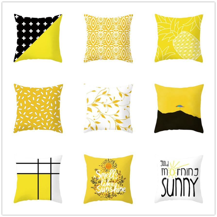 1Pcs 45x45cm Square soft Pillow Case Geometric Pillow Cover Colorful Yellow Cushion Covers for Sofa Home Decoration Pillowcase