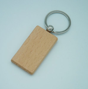 Image 2 - 60pcs Blank Rectangle Wooden Key Chain DIY Promotion Customized Wood Keychains Key Tags Promotional Gifts