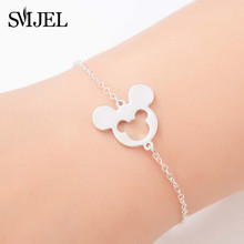SMJEL Stainless Steel Bracelets Mickey Charm Bracelet Kids Jewelry Gifts for Women Cartoon Minnie Bangles pulseras mujer