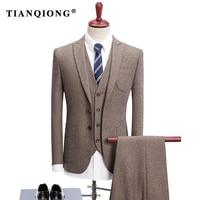 TIAN QIONG Brand Khaki Groom Wedding Suit Men 2018 Spring Autumn Slim Fit 3 Piece Business Suits High Quality Men's Dress Suits