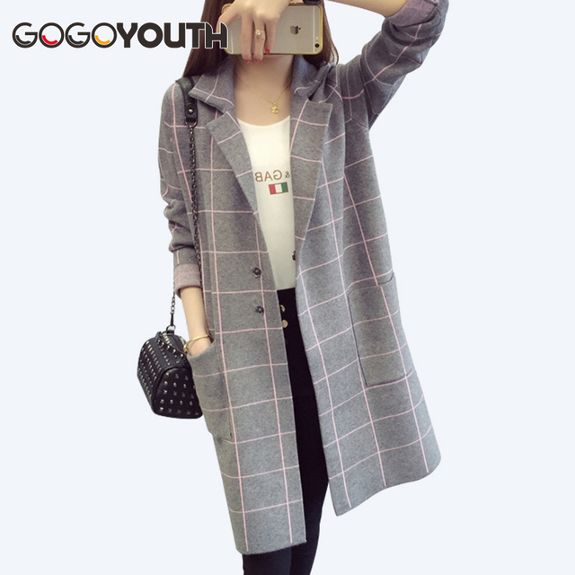 Plus Size Long Cardigan Female Autumn Plaid Knitted Sweater Women Long Sleeve Cardigans Tricot Jacket Winter Tops