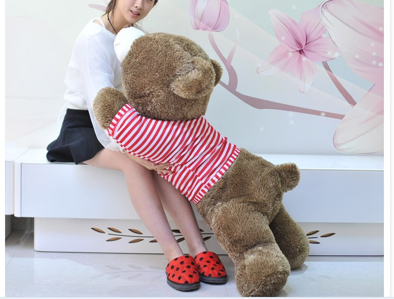 The lovely lying Teddy bear doll red stripe cloth plush bear toy gift toy about 120cm 2pcs pair lovely couple teddy bear with cloth dress plush toy stuffed baby doll girls