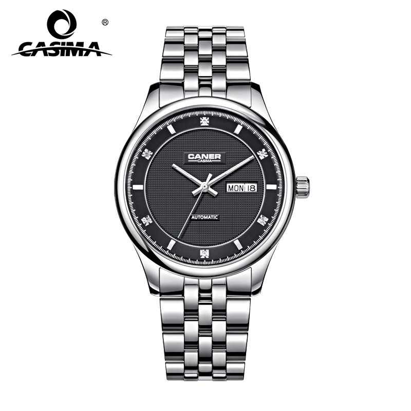 New CASIMA Automatic Self-Wind Business Watch Diamond Charm Men's Watch Calendar Display Waterproof 100m Stainless Steel #6806 casima ca 6806 s7