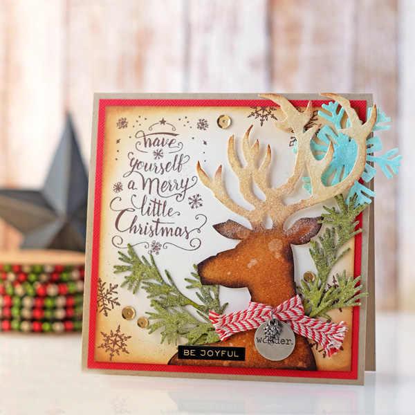 Christmas Card Decor Deer Head Metal Cutting Dies Stencils For Diy Scrapbooking Album Embossing Paper Cards Deco Crafts Die Cuts Cutting Dies Aliexpress