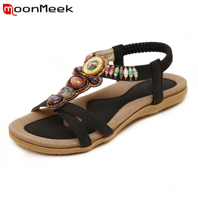 MoonMeek 2018 New shoes woman sandals Bohemia Agate beads prom shoes fashion ethnic style summer shoes  comfortable
