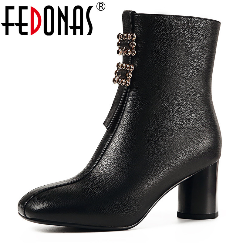 FEDONAS Brand Ankle Boots Women Genuine Leather Buckles Autumn Winter Martin Shoes Woman High Heels Night Club Pumps Basic Boots fedonas brand women ankle boots punk high heels metal decoration party night club boots genuine leather martin shoes woman
