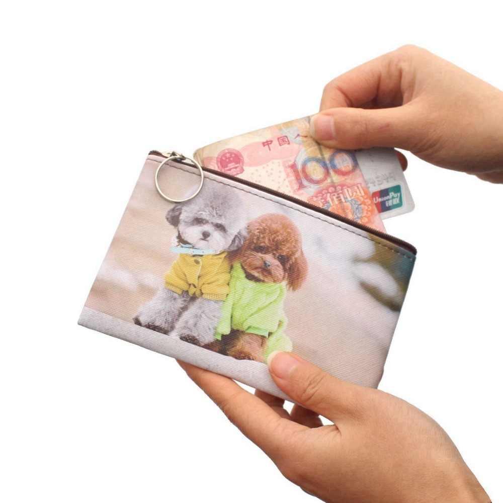 Nueva historieta perros 3D monedas monederos mujeres mini cartera chica cartera bolsa señoras cremallera monedas monederos bolsa de niños pequeñas carteras finas