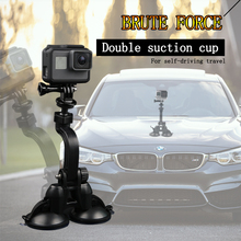 2018 Car Double Sucker Holder Mount Suction Cup Bracket for GoPro Hero7 6 5 4 SJ4000 SJ5000 Mini Camcorder Action Camera 007 rotary double side suction cup car mount holder white