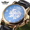 Famoso WINNER Marca de Relojes de Las Mujeres Reloj de La Manera 2016 Dulce Corazón Correa De Cuero Esqueleto de Lujo Mecánico Automático Reloj de Señoras