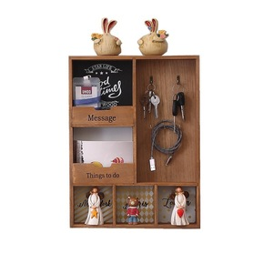 Image 5 - Wood Storage Rack three Layer Hook Hanging Wall Decoration Sundries Holder Living Room Keys Holder Kitchen Vestibule Porch Box