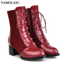 VAMOLASC New Women Autumn Winter Warm Leather Ankle Boots Vintage Zipper Square Med Heel Boots Women
