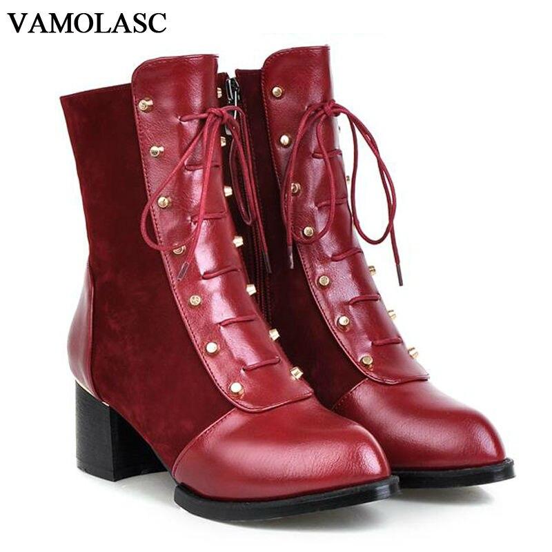 VAMOLASC New font b Women b font Autumn Winter Warm Leather Ankle Boots Vintage Zipper Square