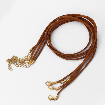 10pcs/ lot Khaki/Black Handmade Suede Velvet Leather Necklace String With Gold/Silver Lobster Clasp