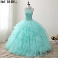 H&S BRIDAL Mint Green Ball Gown Quinceanera Dresses 2019 Ruffles Beading Crystal Prom Dresses Sweet 15 Dress Debutante Gowns