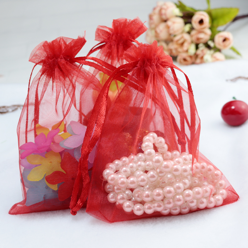 Small Wedding Gift Bags: Wholesale 100pcs/lot Drawable Red Organza Bags 9x12cm