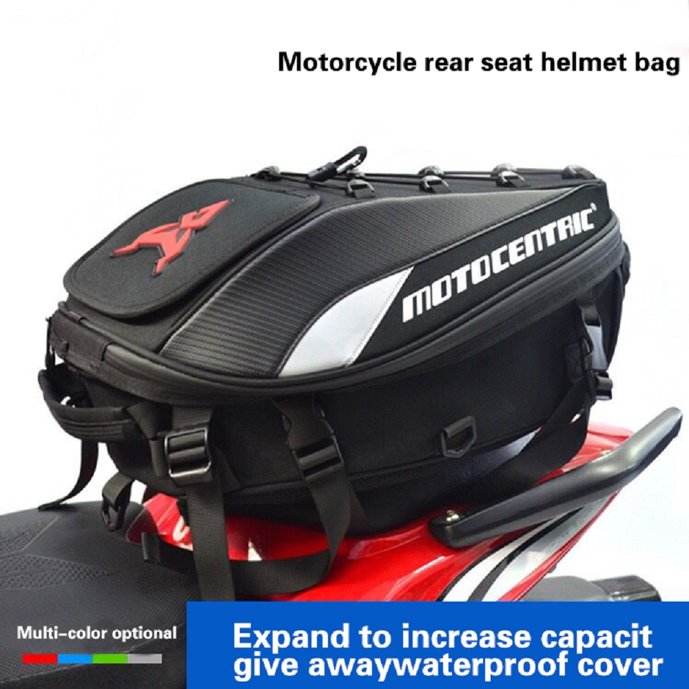 Black Motorcycle Tail Bags Back Seat Bags Travel Bag Waterproof Motorbike Scooter Sports Luggage Rear Seat Rider Backpack