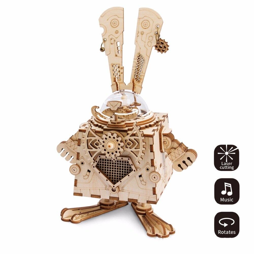 3D Wooden Chip Puzzle Music Box Toys Laser Cut Steampunk Fans Robot Musical Boxes for kids