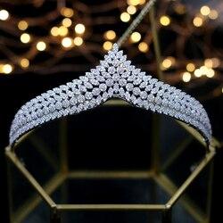 ASNORA Elegant Full Zircon Tiaras Crowns for Brides Royal Silver Wedding Hairbands Crystal Wedding Hair Accessory Wedding Gifts