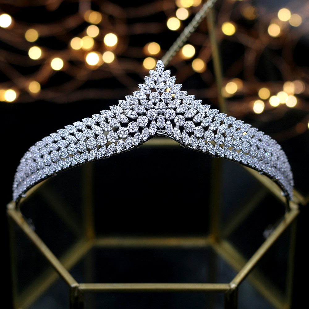 ASNORA Elegant Full Zircon Tiaras Crowns for Brides Royal Silver Wedding Hairbands Crystal Wedding Hair Accessory Wedding Gifts