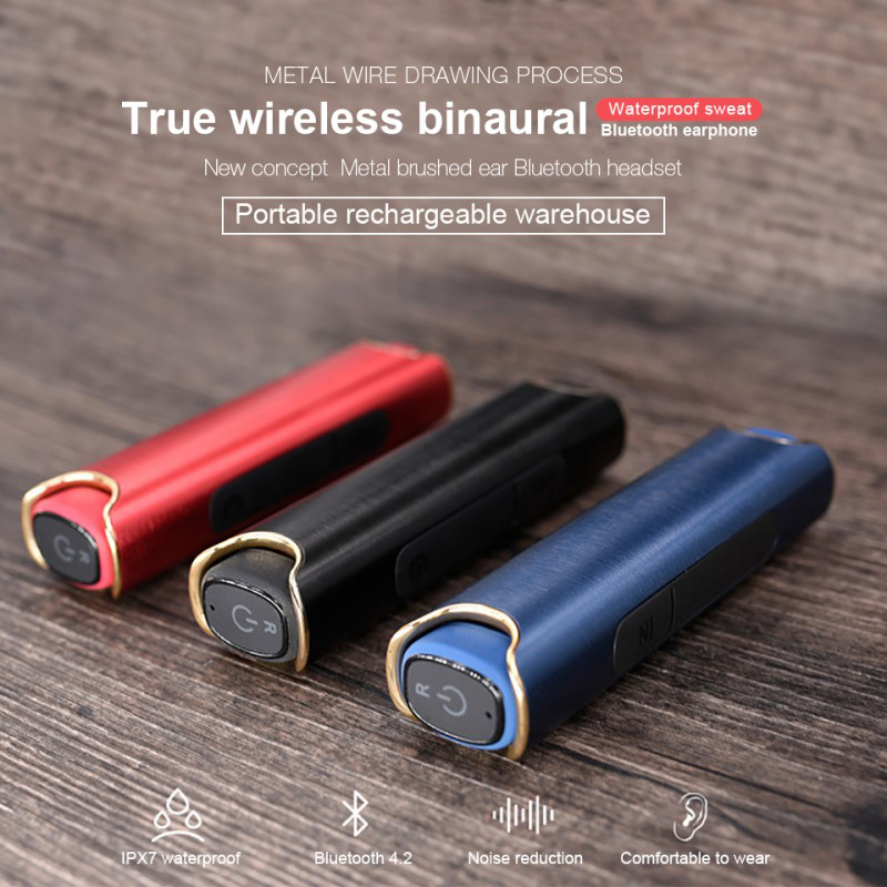 DAONO TWS Invisible Mini waterproof Headphones Stereo Hands-free Bluetooth Headset Wireless Earphones and Power Bank box kz headset storage box suitable for original headphones as gift to the customer