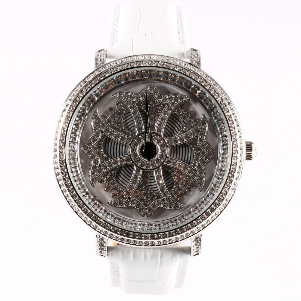 все цены на MATISSE Fashion Lady Full Crystal Rotatable Dial Buiness Quartz Watch Wristwatch - White в интернете