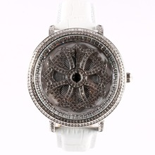 MATISSE Fashion Lady Full Crystal Rotatable Dial Buiness Quartz Watch Wristwatch – White