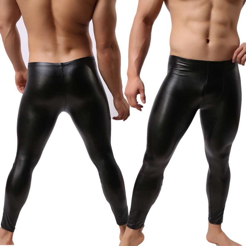 a36540ac53 Sexy Faux Leather Men's Long Johns Bodybuilding Slim Tight Solid Trousers  Boys Pants Male Clothing Gays Underwear Size M L XL-in Long Johns from  Underwear ...