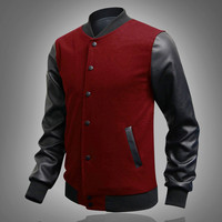 Cool College Baseball Jacket Men Fashion Design Black Pu Leather Sleeve Mens Slim Fit Varsity Jacket
