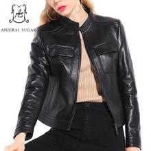Autumn women Sheepskin Genuine Leather jacket Black slim stand Collar motorcycle zipper pocket short real jaqueta couro feminina