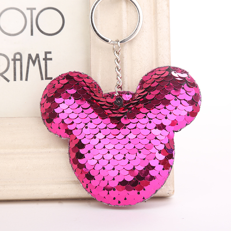 8dceb507f Cute Chaveiro Mickey Keychain Glitter Pompom Sequins Key Chain Gifts for  Women Llaveros Mujer Car Bag Accessories Keyring 6C2403 ~ Perfect Deal June  2019